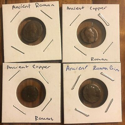 4 Authentic Ancient Roman Copper Coins 1500+ Year Old Tokens Empire Artifacts