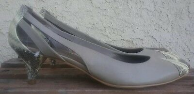 bf90874a58b B Makowsky Womans Gray Slingback Kitten Heel Snakeskin Pumps Leather Size  9.5