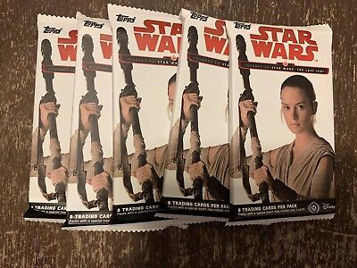 (5) Pack lot of 2017 Topps Journey To Star Wars: The Last Jedi Trading Cards!
