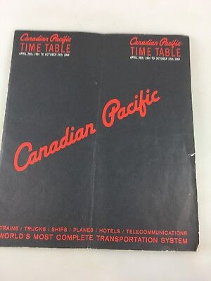 Tourism Timetable - Canadian Pacific April To October 1964