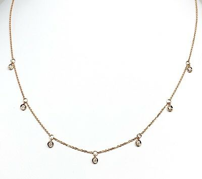 MSRP $1,490 Stunning 14 Kt Rose Gold Necklace With Seven Diamond Pendants 16+2""