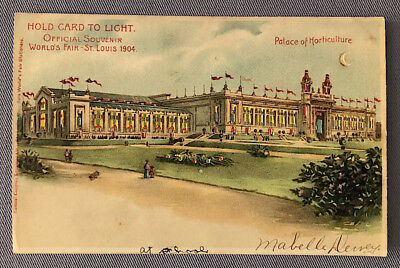 1904 St. Louis WORLD'S FAIR Palace of Horticulture HOLD-TO-LIGHT POSTCARD