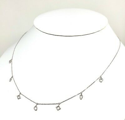 MSRP $1,490 Stunning 14 Kt White Gold Necklace With Seven Diamond Pendants 16+2""