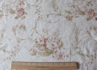 Pretty Faded Antique c1880 French Rose Filled Baskets-Peach & Pink Home Fabric