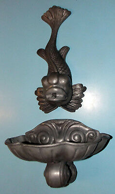 Antique KOI WALL FOUNTAIN Hand Made in Portugal Medieval Co PEWTER 2pc