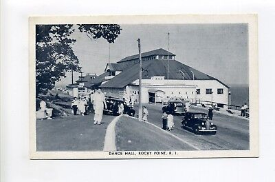 RI Rocky Point amusement park, Dance Hall, old cars, people, antique postcard