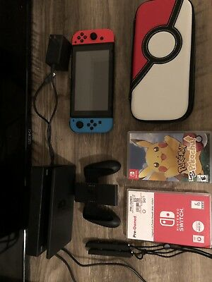 Nintendo Switch - Neon Red & Blue Joy-Con + Lets Go Pikachu & Breath of the Wild