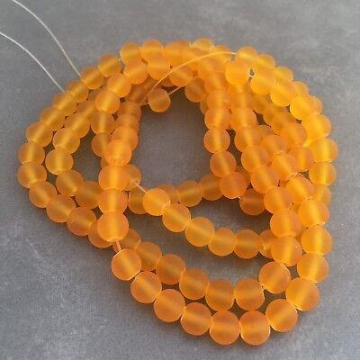 135X Frosted Glass Beads - 6mm Round Yellow Amber Craft Bead - 80cm Strand