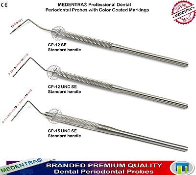 3Pc Dental Periodontist Examination Pocket Depth Probes 12 UNC Color-Coded CP-15