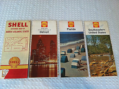 VINTAGE 1950's - 1960's Lot of 4 SHELL Station U.S. State Road Maps