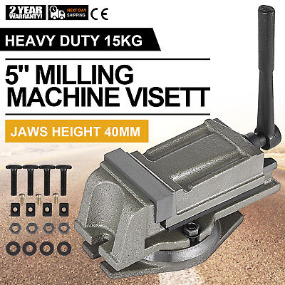 "5"" Bench Lathe Milling Vice Swivel Base Precision Clamping Vise 24KN Drilling"