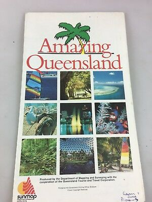 Amazing Queensland - Road Map & Information By Sunmaps - Large Foldout