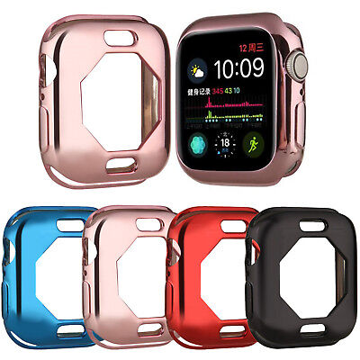 Gold Plated Soft Case for iWatch Apple Watch Series 4 40/44 Cover Silicone Shell