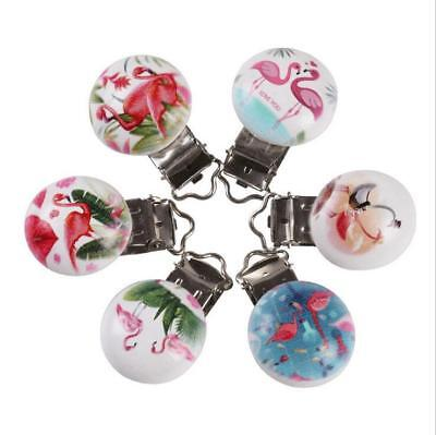 5X Flamingo pattern Baby Pacifier Clip Soother Clasps Holders Teether Accessorie