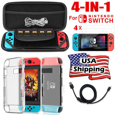 4-in-1 for Nintendo Switch Travel Carrying Case Bag+TPU Case+Tempered Glass Film