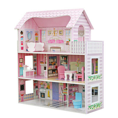 Large Children Girl Wooden Dollhouse Kid House Play Pink with Furniture Toy Xmas