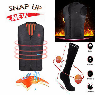 Men Women Electric Heated Vest Rechargeable Heating Motorcycle Ice Coats Boot US