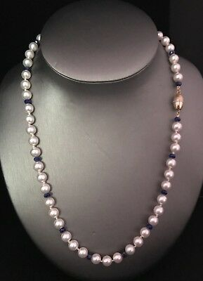 Certified $3,995 7.9-7.7 Mm Akoya Pearl Sapphire 14Kt Gold 21 In Necklace