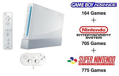 Nintendo Wii Console with over 1500 Retro Nintendo SNES Gameboy NES Video Games