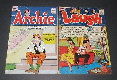 Lot of 2 Golden Age Comic Books Archie #106 and Laugh #81 VG/VG+ TV Pop Culture