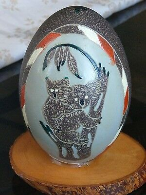 Vintage carved and painted emu egg with koalas