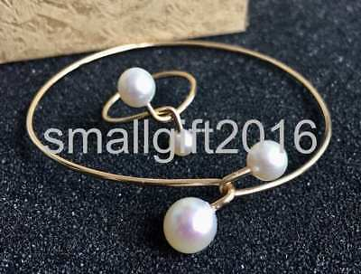 Nature 6-7mm 8-9mm White Pearl 14K Gold Chain Pearl Bracelet Ring set