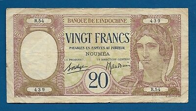 New Caledonia 20 Francs ca. 1929 P-37b Woman / Peacock France Colony Note