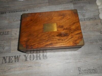 Wooden Box Secret Drawers Needs Attention Brass Banding see other boxes