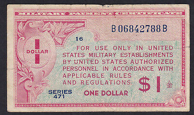 United States Military Payment Certificate 1 Dollar 1947 P - M 12, Series 471