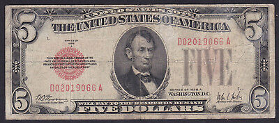 United States Notes 5 Dollar  1928, Series: D A