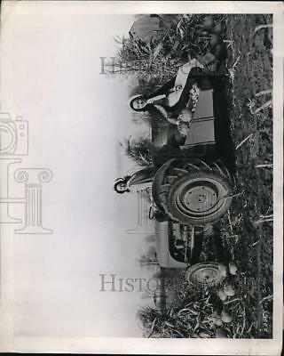 1946 Press Photo Lovely Michigan Farmerettes with Healthy Fall Pumpkin Harvest