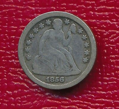 "1856-O Seated Liberty Silver Dime **full ""liberty"" Visible** Free Shipping!"