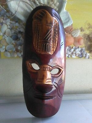nz carved wooden face mask colourful