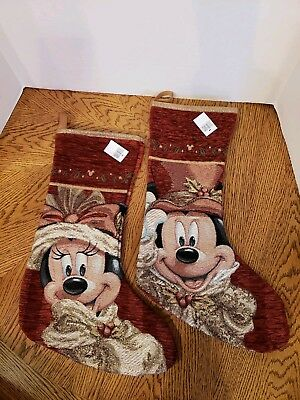 FREE SHIP Disney Parks Mickey Minnie Mouse Red Victorian Christmas Stockings NWT