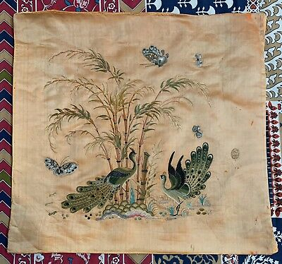 "Antique Chinese Qing Dynasty Hand Embroidery Panel Wall Hanging 20"" X 19"""