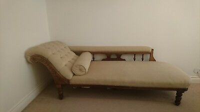 Antique Original Edwardian Spindle Back Chaise Longue Sofa Daybed