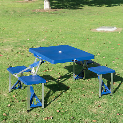 Outsunny Picnic Table Garden Foldable Portable BBQ 4 Chair Stool Camping Party