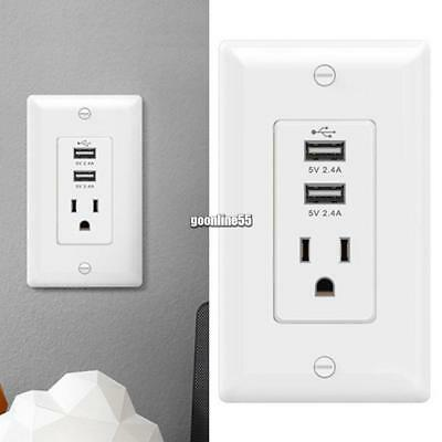2 USB Ports 2.4A Rapid Charging Wall Outlet US Standard Wall Socket EA9
