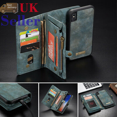Retro Leather Purse Wallet Case Magnetic Removable Cover For  iPhone XR XS Max
