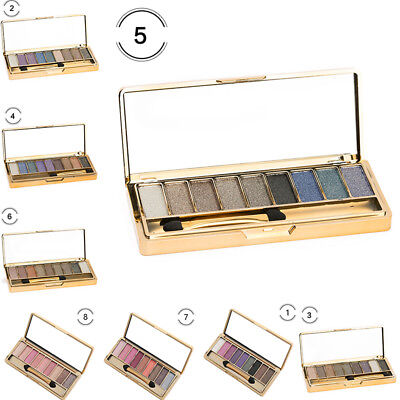 NEW 9 Colors Glitter Eyeshadow Eye Shadow Palette & Makeup Cosmetic Brush Set