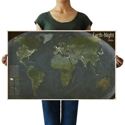 US Seller- Earth Night world map poster rustic home decor
