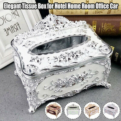 Elegant Gold Tissue Box Cover Napkin Case Holder Hotel Home Room Office Car AU