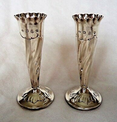Pair Victorian 1896 Sterling / Solid Silver Flower Vases – Christies Auction