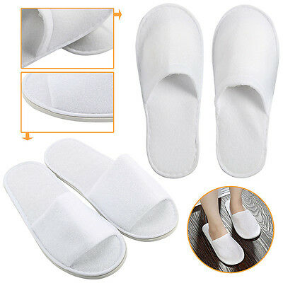 1/5 Pairs White Towelling Open HLosed Toe Hotel Slippers Spa Shoes Disposable_CV