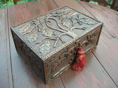 Antique Arts & Crafts Carved Oak Work Box. Early 20th C Fitted Oak Box. (152)