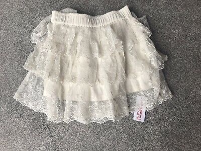 Lovely Girls Young Dimension Cream Lace Tiered Party Xmas Skirt age 5-6 years