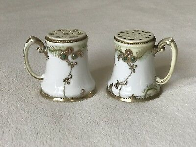 Vintage Hand Painted Nippon Salt And Pepper Shakers Gold Moriage Beading