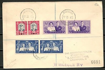 South Africa 1947 Cover, Set Of Stamps Royal Visit Swa Ovpt, Windhoek-Cag 041016