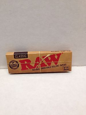 6Pks Authentic Raw Natural Unrefined Classic1 1/4 Rolling Papers+Free Scoop Card