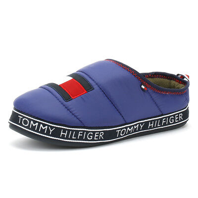 70892d60c22e Tommy Hilfiger Flag Patch Mens Solidate Blue Slippers Casual Slip On Home  Shoes